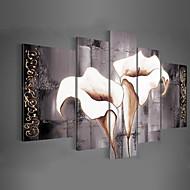 Peint à la main A fleurs/Botanique Toute Forme,Classique Moderne Traditionnel Cinq Panneaux Toile Peinture à l'huile Hang-peint For