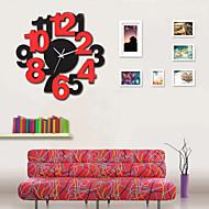 Kulatý / Novinka Módní a moderní Nástěnné hodiny , Postavy / Malebný / Svatba / Rodina Skleněný / Dřevo 40cm x 40cm( 16in x 16in )