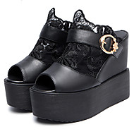 Women's Shoes Leatherette Wedge Heel Wedges / Peep Toe / Platform Sandals Dress Black / White