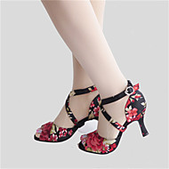 Customizable Women's Dance Shoes Latin / Jazz / Swing Shoes / Salsa / Samba Satin Customized Heel Black Flower