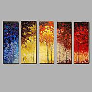 Pintados à mão Abstrato / PaisagemModerno 5 Painéis Tela Pintura a Óleo For Decoração para casa
