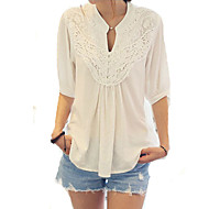Women's Casual/Daily Cute Spring Blouse,Patchwork V Neck ½ Length Sleeve White Cotton Opaque