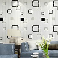 PALUTON Geometric Wallpaper Contemporary Wall Covering , Non-woven Paper Lattice Minimalist Style Vertical Stripes Warm