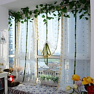 1PCS Roman Curtains Orange Flower Embroidery Sheer Shade Balcony Windows Curtain