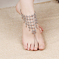 2Pcs  Anklet Chain Barefoot Sandals Bridemaids Wedding Jewelry Toe bells Tassels  Toe Ring Anklets  (Silver plated)