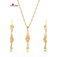 WesternRain 2015 New Wholesale 24k Gold Lovely Pendant Necklace Earrings Chain Fashion Jewelry Sets Free shipping