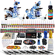 Solong Tattoo Complete Tattoo Kit 2 Pro Machines 54 Inks Power Supply Foot Pedal Needles Grips Tips TK262