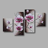 Hånd-malede Abstrakt Blomstret/Botanisk Alle Former,Moderne Fire Paneler Kanvas Hang-Painted Oliemaleri For Hjem Dekoration