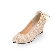 נעלי נשים - שטוחות - חומרים בהתאמה אישית - פלטפורמות - שחור / לבן / בז' - חתונה / שמלה / קז'ואל / מסיבה וערב - עקב וודג'