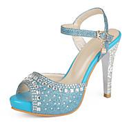 Women's Shoes Heel Heels / Peep Toe / Platform Sandals / Heels Party & Evening / Dress / Casual Blue / Silver / YX-5