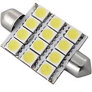 Car White Dome 12 LED 5050 SMD Interior Bulb Light 42mm  (2 Pcs)