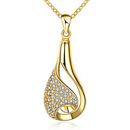 Creative Korean-style Women's Waterdrop Pendant Necklace 18K Gold Plated Crystal Necklace Fine Jewelry(Color:Gold)