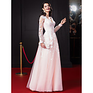 Formal Evening Dress A-line V-neck Floor-length Chiffon / Tulle