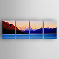 Ručně malované KrajinaModerní Čtyři panely Plátno Hang-malované olejomalba For Home dekorace