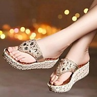 Women's Shoes Diamond Fahion All Match Casual Flipflop Wedge Heel Comfort Sandals Dress Gold