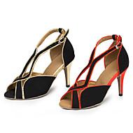 Dance Ballroom Dance Shoes For Women Shoes Latin / Salsa / Samba Flocking Red / Gold Customizable
