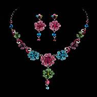 AAA Zircon Gem Flower Shape Necklace & Earrings Jewelry Set