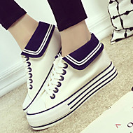 Women's Shoes Canvas Flat Heel Comfort Fashion Sneakers Outdoor / Athletic Black / Blue / White