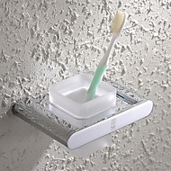 HPB®,Toothbrush Holder Chrome Wall Mounted 15*10.5cm(5.9*4.1 inch) Brass / Glass Contemporary