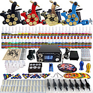 Solong Tattoo Complete Tattoo Kit 4 Pro Machines 54 Inks Power Supply Foot Pedal Needles Grips Tips TK458