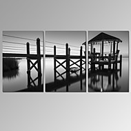 VISUAL STAR®3 Panel Black and White Lake Landscape Canvas Print for Home Decor Ready to Hang
