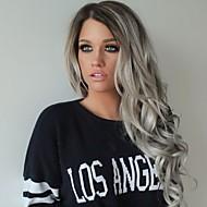 moda peruki syntetyczne koronki przodu peruk falę ciała lang czarnym i szarym odporne włosy ciepła Peruki