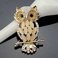 Women's Crystal Cute Owl Animal Brooch for Wedding Party Decoration Scarf ,Fine Jewelry
