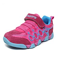 Girls' Shoes Outdoor / Casual Comfort / Round Toe Leather Fashion Sneakers Black / Blue / Brown / Red