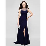 TS Couture® Formal Evening Dress - Dark Navy Plus Sizes / Petite Sheath/Column Jewel Floor-length Chiffon / Tulle