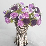 Silk / Plastic Roses Artificial Flowers with Vase