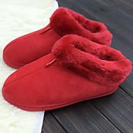 Calçados Femininos-Chinelos-Conforto / Arrendondado-Rasteiro-Rosa / Vermelho-Pêlo-Casual