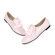 Women's Spring / Summer / Fall / Winter Comfort Patent Leather Office & Career / Dress / Casual Flat Heel Bowknot Black / Pink / Almond