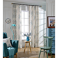 Two Panels Country Botanical As Per Picture Bedroom Linen&Polyester Blend Blackout Curtains Drapes