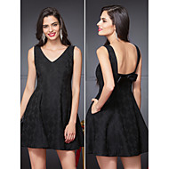TS Couture Cocktail Party Dress - Black A-line V-neck Short/Mini Polyester