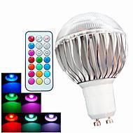 8W GU10 Lâmpada Redonda LED A60(A19) 3 LED de Alta Potência 400 lm RGB Regulável / Controle Remoto / Decorativa AC 100-240 V 1 pç
