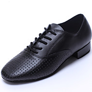 Customizable Men's Dance Shoes Leather Leather Latin / Dance Sneakers Flats Flat Heel Indoor / Beginner Black
