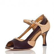 Customizable Women's Dance Shoes Latin / Salsa / Samba Satin Customized Heel Gold