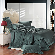 Dark green 100% Tencel Soft Bedding Sets Queen King Size Solid color Duvet Cover Set