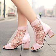 Women's Shoes Heel Heels / Peep Toe Sandals / Heels Outdoor / Dress / Casual Black / Blue / Pink / Beige