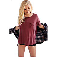 Women's Solid Red / White / Black / Green / Purple T-shirt,Round Neck Short Sleeve