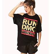 Vrouwen Sexy Zomer T-shirt,Casual/Dagelijks Bloemen Ronde hals Korte mouw Grijs Katoen / Polyester Ondoorzichtig