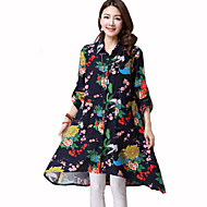 Women's Casual/Daily Street chic Spring Shirt,Floral Shirt Collar Long Sleeve Blue / Multi-color Cotton Medium
