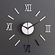 1 set Modern DIY Interior Roman Wall Clock Wall Clock 3D Sticker Home Mirror Effect