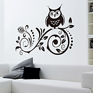 Wall Stickers Wall Decals Style The Owl Carved Flower Vine Waterproof Removable PVC Wall Stickers
