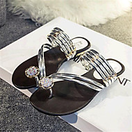 Women's Shoes Rubber Low Heel Slippers Sandals Casual Black / Silver / Gold