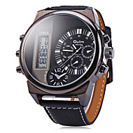 Men's Military Fashion Analog Digital Dual Time Zones Leather Band Quartz Watch Wrist Watch Cool Watch Unique Watch