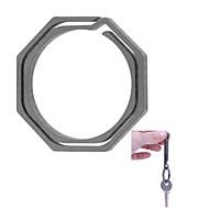 フラ八角形のチタン合金キーリング - グレー