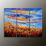 Hånd-malede LandskabModerne Tre Paneler Canvas Hang-Painted Oliemaleri For Hjem Dekoration