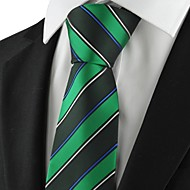 New Striped Green Mens Tie Formal Suit Necktie Party Wedding Holiday Gift KT1079