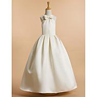 Lanting Bride A-line Ankle-length Flower Girl Dress - Satin Sleeveless V-neck with Bow(s)